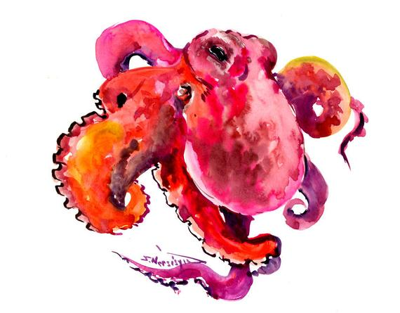 570x445 octopus artwork pink purple red octopus artwork original etsy