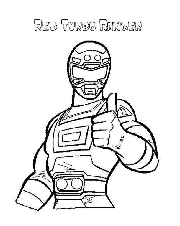 610x767 All Red Power Ranger Coloring Pages