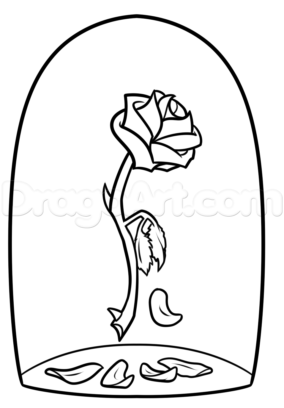 956x1371 Beauty And The Beast Rose Drawing, Step