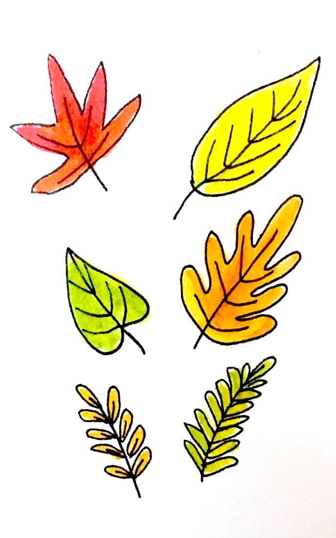 687x1099 Ways To Draw Fall Leaves Dawn Nicole