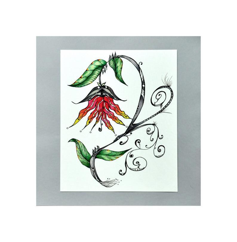 794x811 Botanical Giclee Print Of Redorange Flower And Vines Etsy