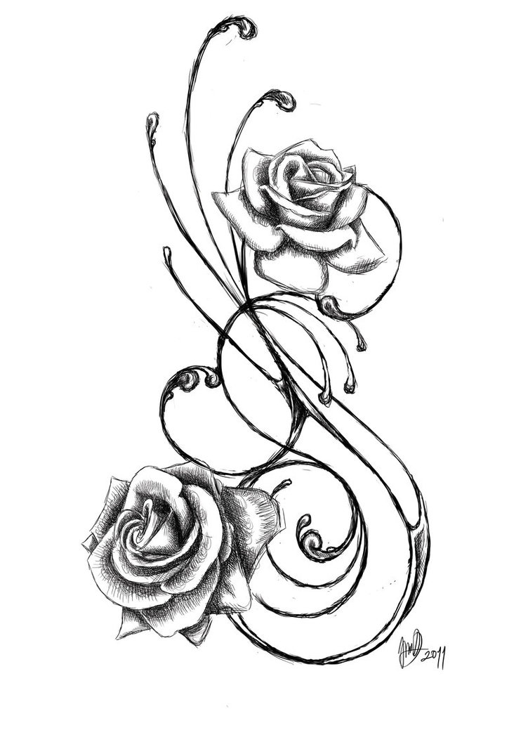 752x1063 Vine Drawing Red Rose For Free Download