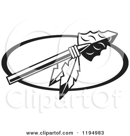 450x470 Clipart Of A Black And White Arrowhead With Feathers For Warriors