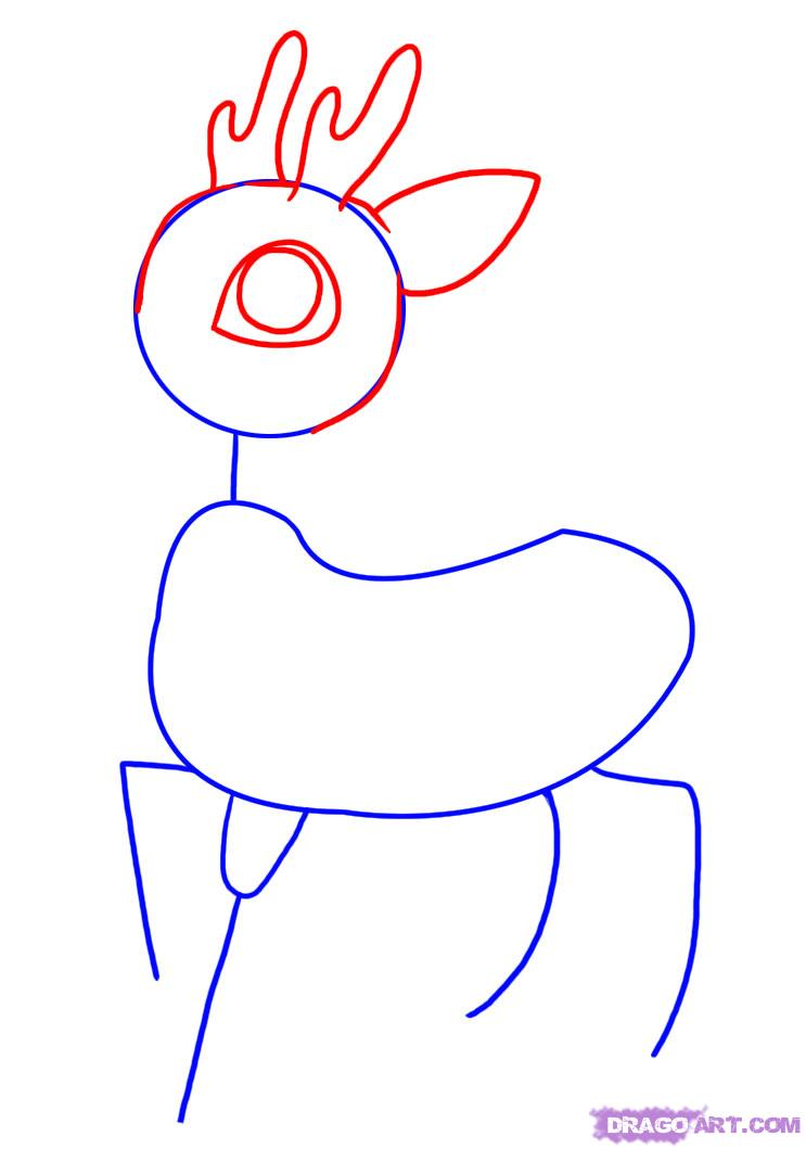 743x1059 pin drawn reindeer reindeer head how to draw a reindeer step
