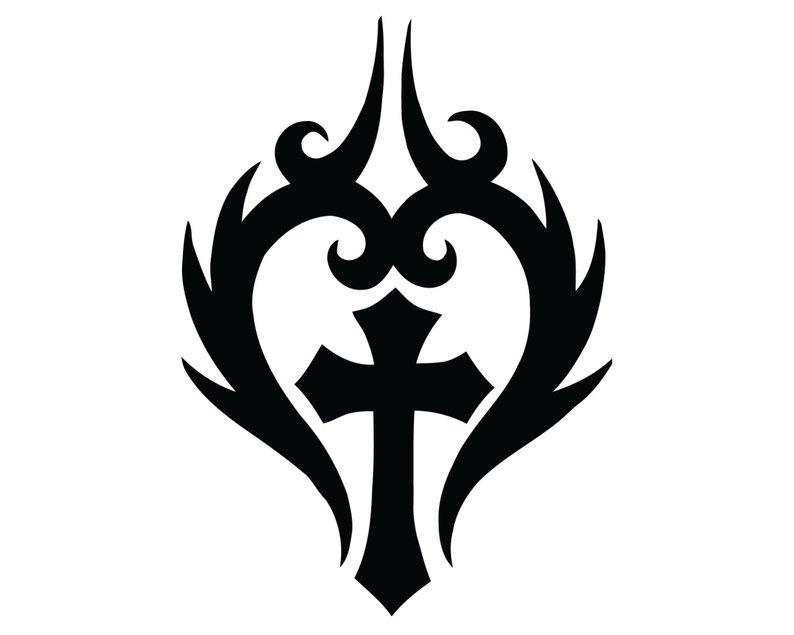 794x635 tribal heart cross decal christian jesus cross heart sticker etsy