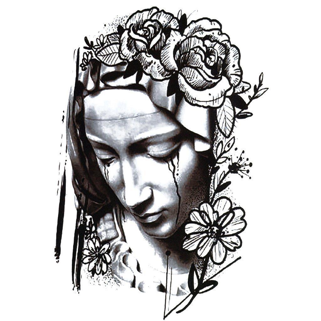 1024x1024 Crying Virgin Mary Temporary Tattoo