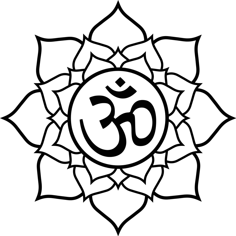 1000x1000 Religious Om Symbol Lotus Black Flower Tattoo Sketch