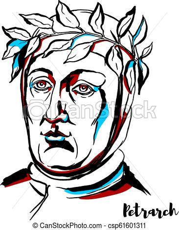 366x470 petrarch portrait petrarch engraved vector portrait with ink