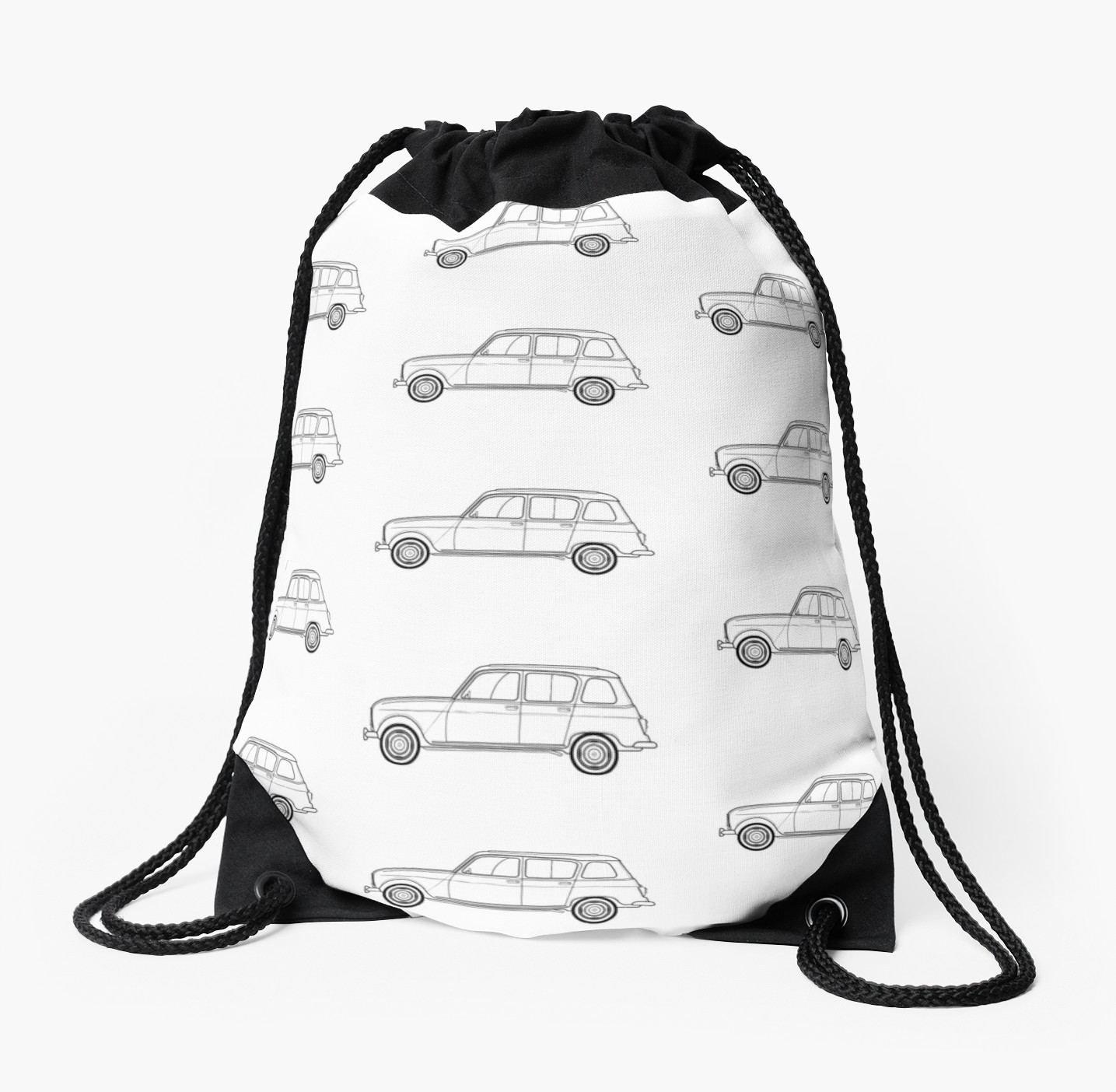1435x1404 Renault 'quatrelle' Line Drawing Artwork Drawstring Bag