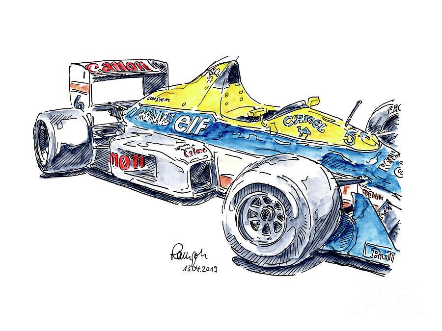 900x675 Williams Renault Racecar Ink Drawing And Watercolor