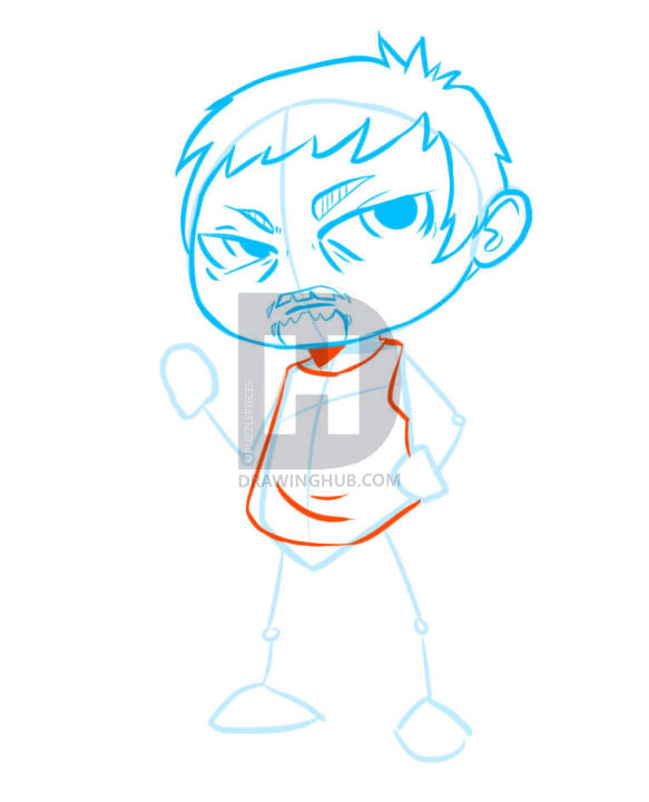 583x720 How To Draw Chibi Daryl Dixon, The Walking Dead, Step