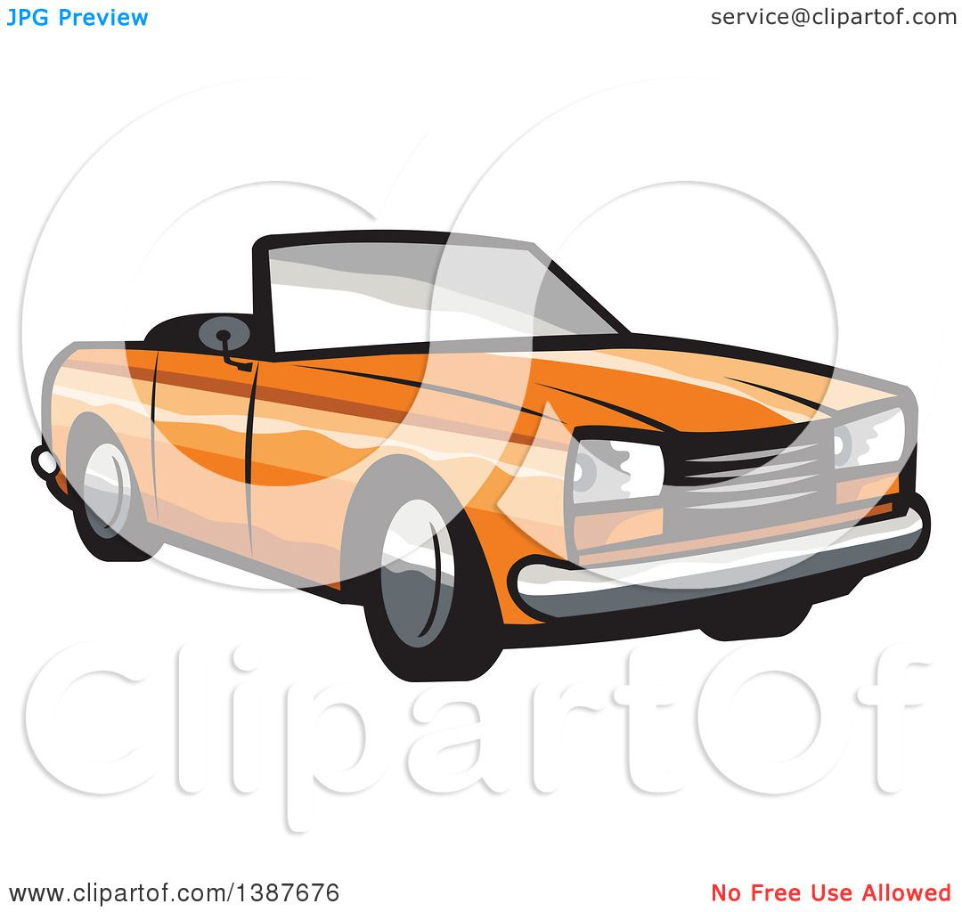 1080x1024 Clipart Of A Retro Orange Convertible Coupe Car