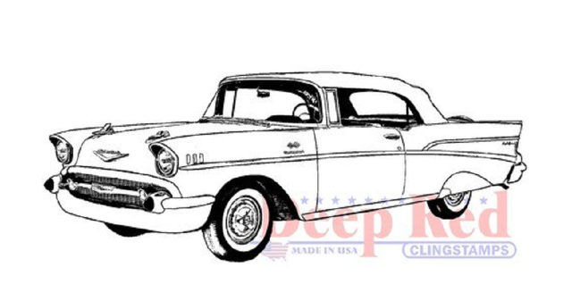 640x337 Deep Red Rubber Stamp Farm Chevy Bel Air Vintage Retro Car