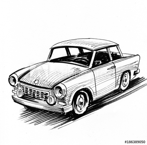 500x492 East German Retro Car Sketch
