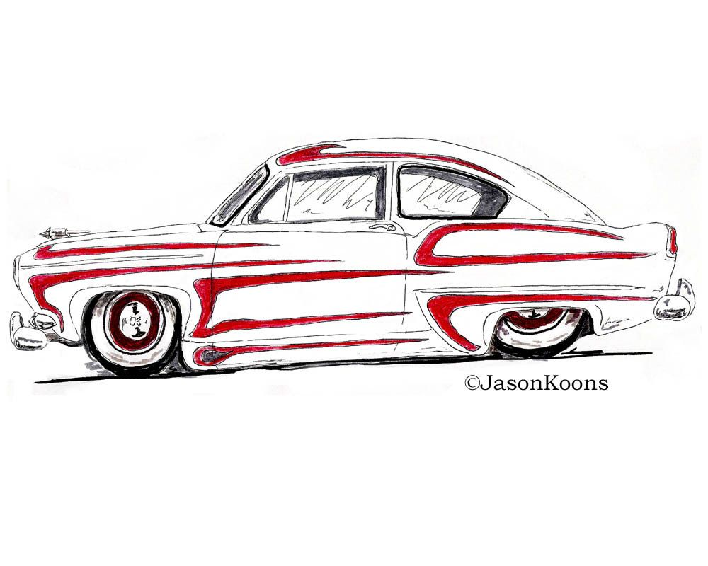 1000x800 Gasser Hot Rod Henry J Drawing Print Retro