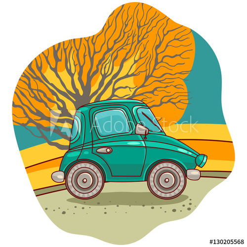 500x500 Illustration Of The Retro Car Vector Illustration Freehand