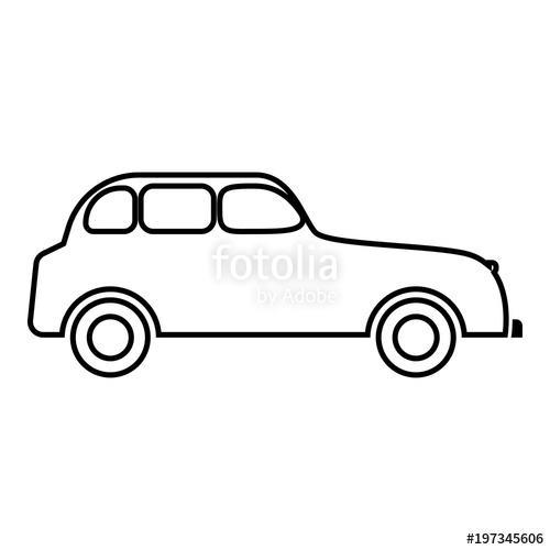 500x500 Retro Car Icon Black Color Illustration Flat Style Simple Image