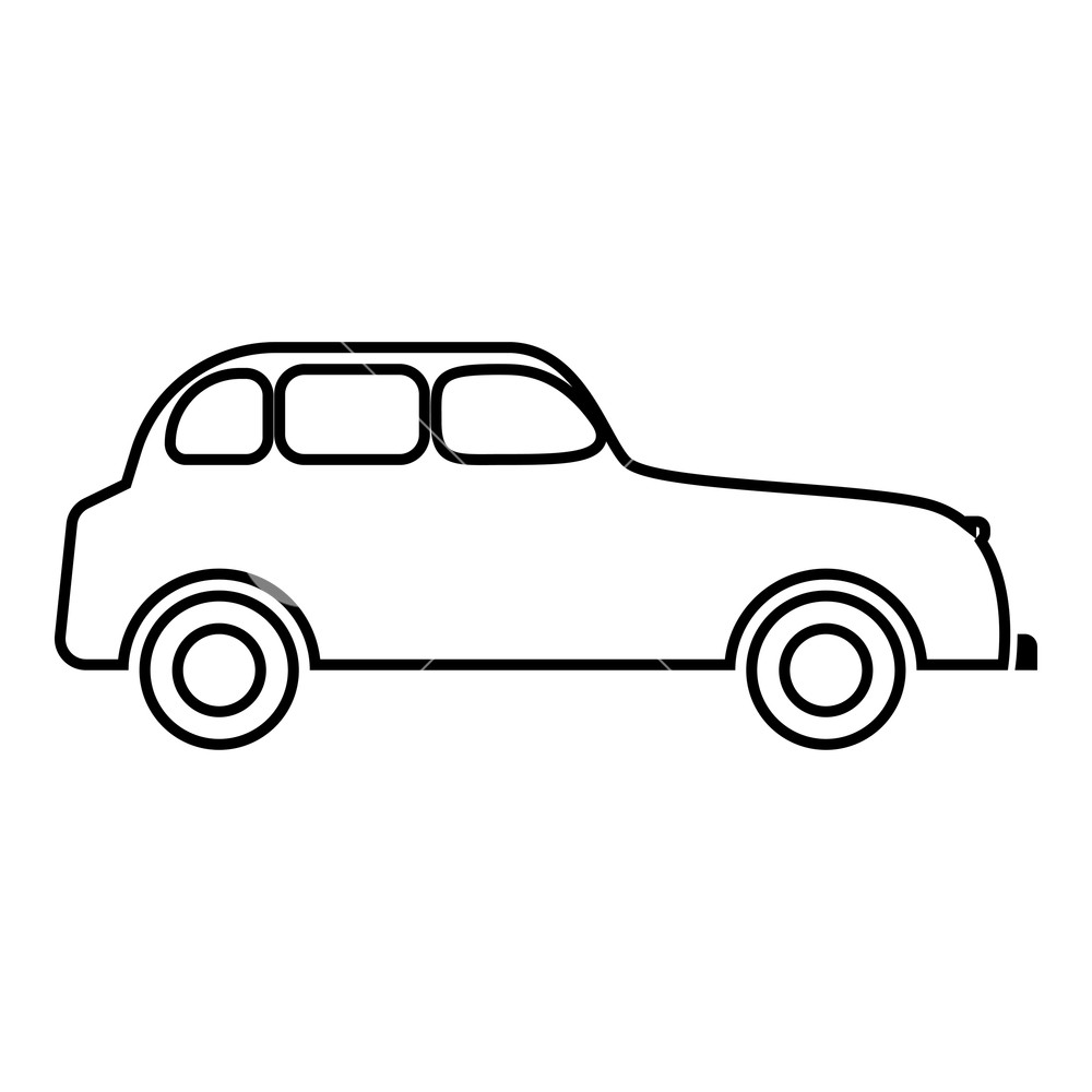1000x1000 Retro Car Icon Black Color Vector Illustration Flat Style Simple