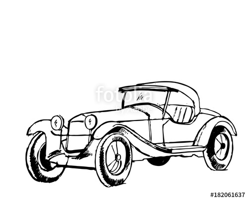 500x405 Retro Car In Cartoon Style Black Outline Retro Auto Stock Image