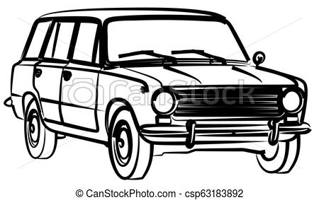 450x283 Sketch Of Retro Car The Sketch Of A Old Retro Car