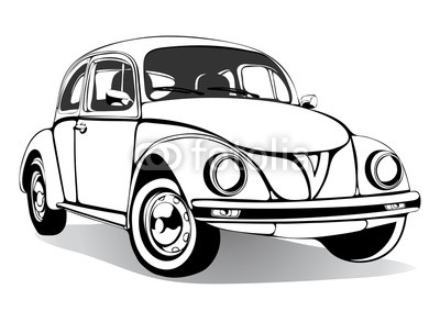 400x283 Vintage Car Sketch, Coloring Book, Black And White Drawing