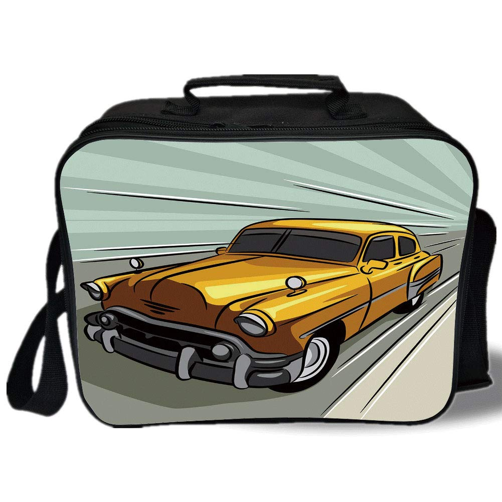 1001x1001 Insulated Lunch Bag, Cars, Summer Inspired Drawing
