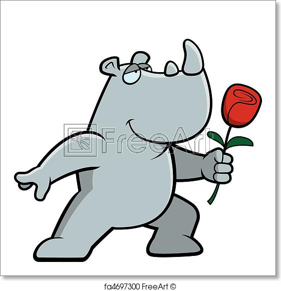 561x581 free art print of rhino flower a happy cartoon rhino