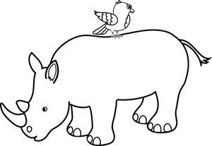 300x207 rhino outline with bird cute rhinos rhino tattoo, safari