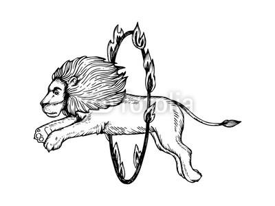 400x300 circus lion jumps into fire ring engraving vector buy photos