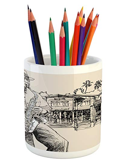 421x550 ambesonne jazz music pencil pen holder, art with jazz