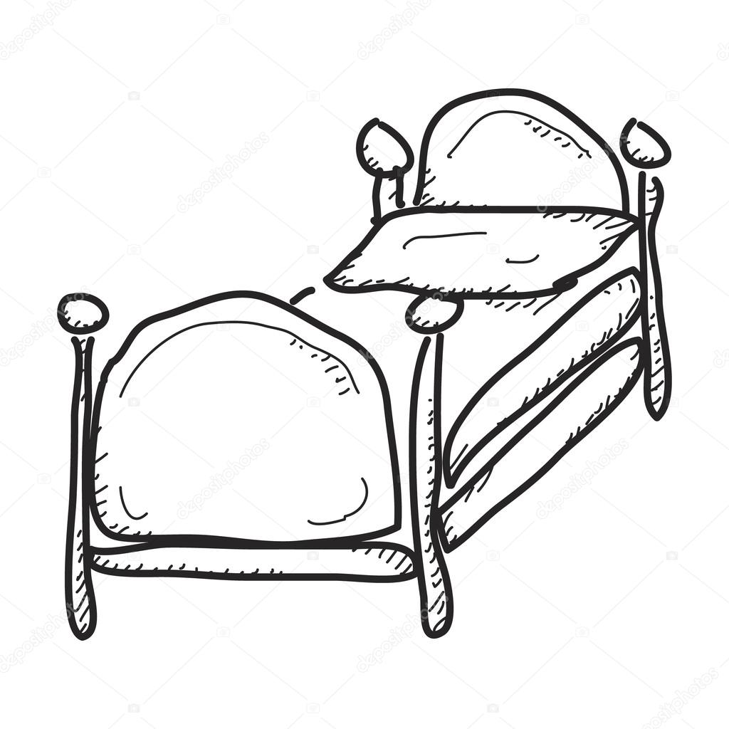 1024x1024 Bed Drawing Doodle For Free Download