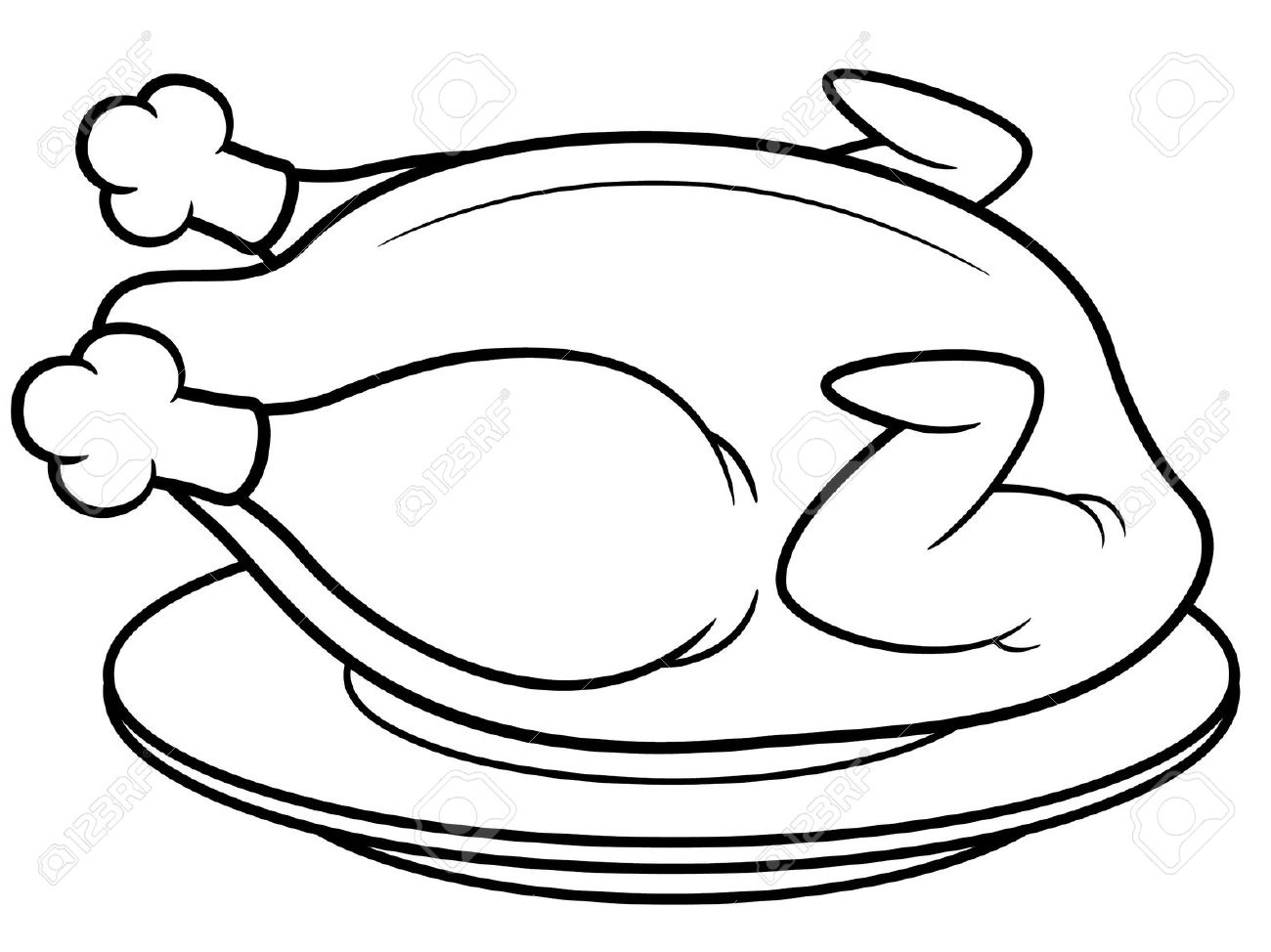1300x974 Chicken Drawing Cooked Chicken For Free Download