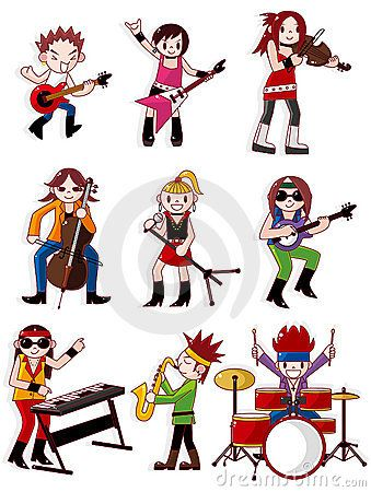 339x450 Cartoons Girls With Guitars Cartoon Rock Band Icon Royalty Free