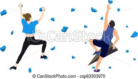 450x258 Climbers On A Climbing Wall A Man And A Woman Climbers On A Wall