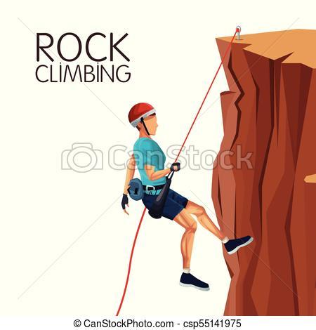 450x470 Scene Man Mountain Descent With Equipment Rock Climbing Vectors