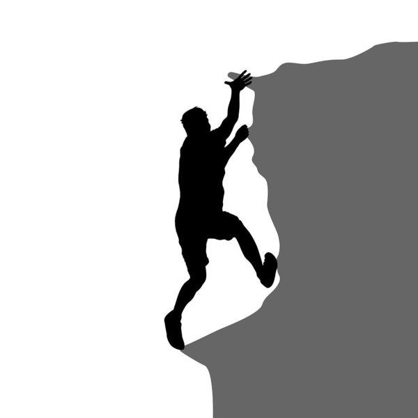 600x600 Black Silhouette Rock Climber On White Background Art Print