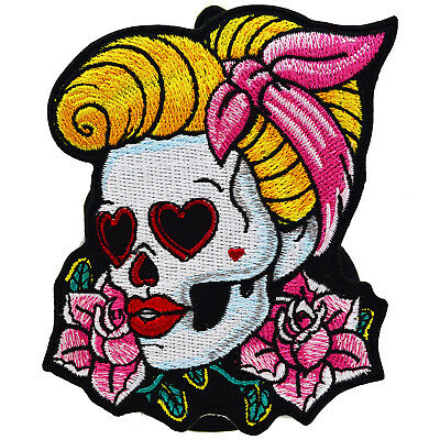 400x400 Rockabilly Girl Patch Iron On Sew Kustom Tattoo Sugar Skull Pin Up