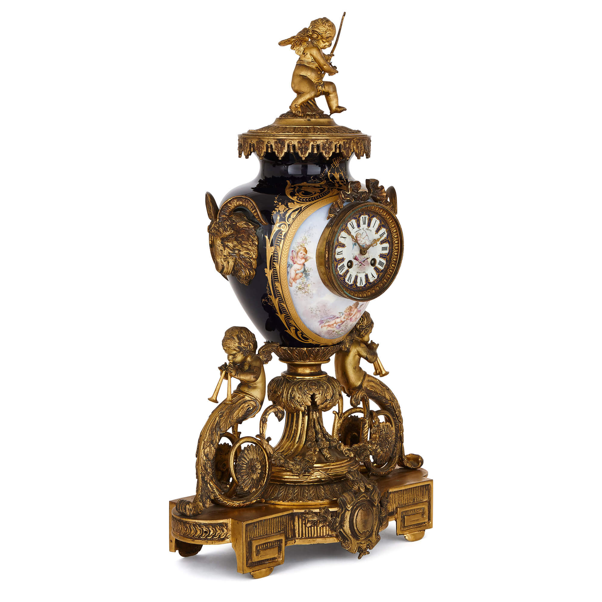 2000x2000 rococo style gilt bronze and sevres style porcelain clock