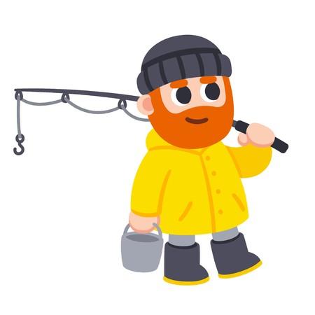 450x450 Cute Cartoon Fisherman Character Drawing Man With Beard