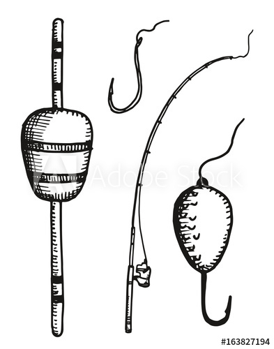 393x500 Fishing Rod Float And Hooks Vector Hand Drawing