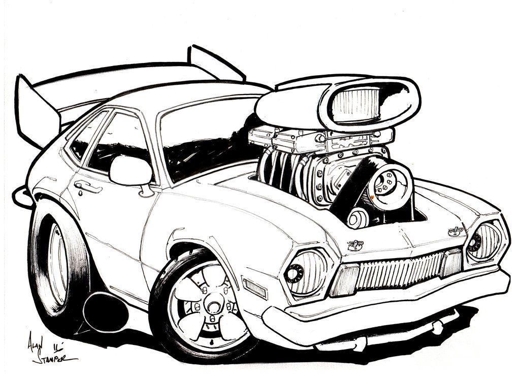 1024x744 Cartoon Hot Rod Car Art Cartoon Car Drawing