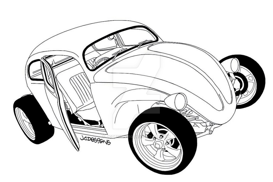 900x600 Vw Beetle Rod Outline Drawing