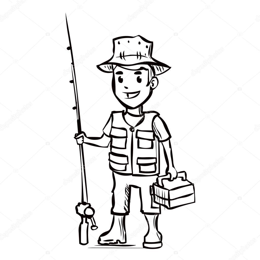 1024x1024 Fisherman Drawing Fishing Rod For Free Download