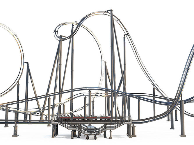 667x500 Roller Coaster Track And Train Cgtrader