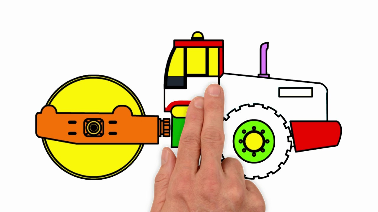 1280x720 drawing and coloring road roller steam roller for kidfunny music