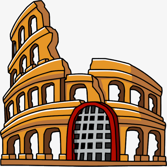 650x651 hand painted roman colosseum, roman clipart, hand painted, ancient