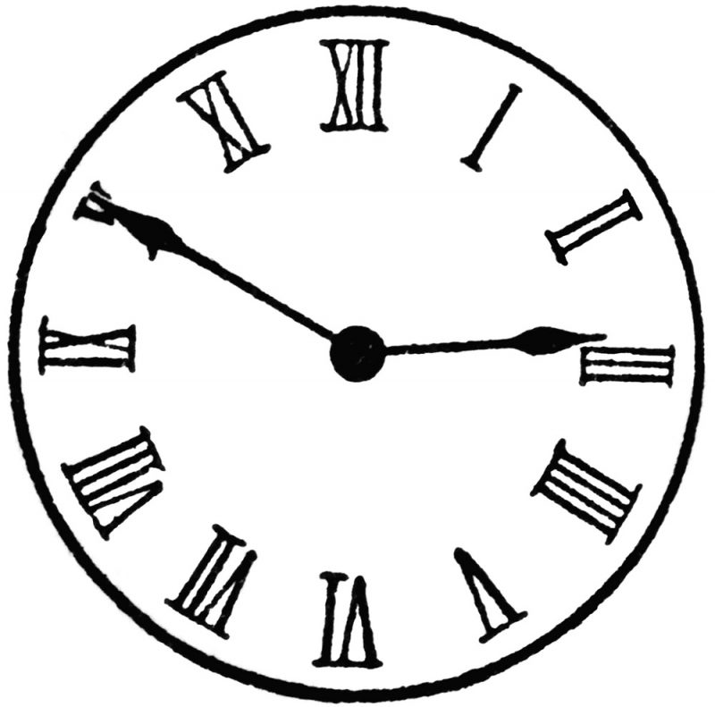 800x791 Roman Numerals Clock Face Learning Printable