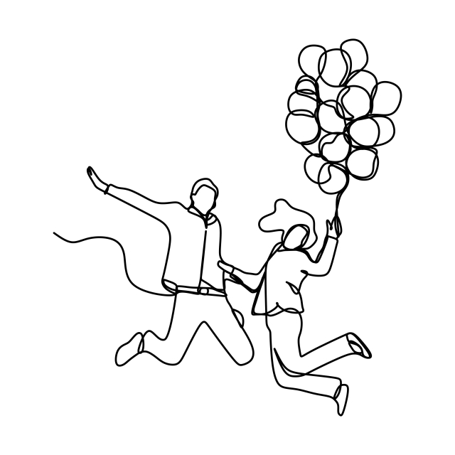640x640 Continuous Line Drawing Of Romantic Couple With Balloon Running