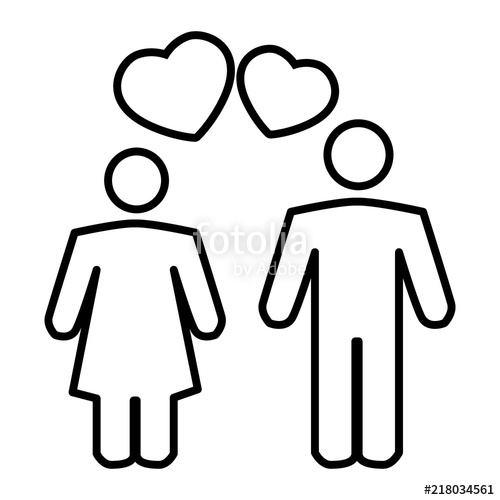 500x500 Couple In Love Thin Line Icon Romantic Couple And A Heart Vector