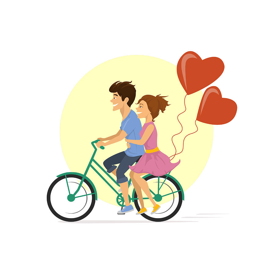 900x900 Young Cute Couple Riding Bike With Heart Balloons Romantic